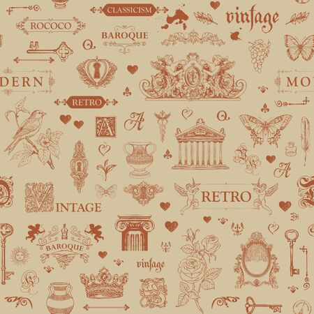 Vector seamless pattern on the theme of vintage art objects and Antiques. Abstract background with sketches and drawings in retro style. Suitable for wallpaper, wrapping paper or fabric Illustration
