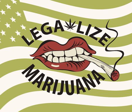 Vector banner with words Legalize marijuana with a human mouth with a cigarette or a spliff in his teeth on the background of green american flag. Drug consumption. Smoking weed Vettoriali