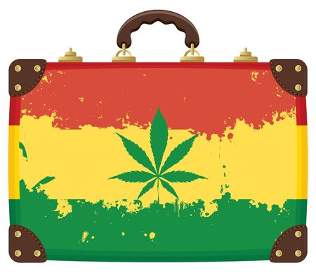 Vector image with an old suitcase in the colors of the Rastafarian flag and a cannabis leaf. The banner for the legalization of marijuana. A natural product made from organic hemp. Smoking weed. Illustration