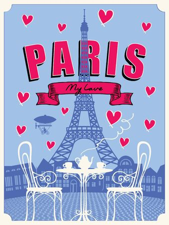 Vector banner or menu for Parisian street cafe with table and chairs for two in retro style on the background of Eiffel Tower. Romantic cartoon illustration with french landscape and hearts