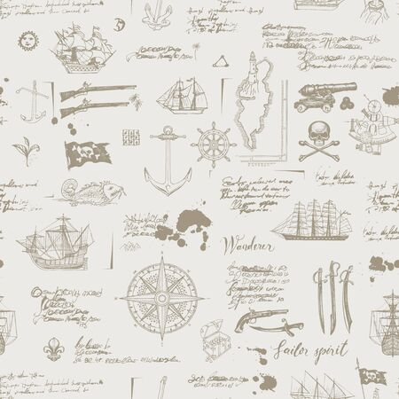 Vector abstract seamless pattern on the theme of pirate adventures with sketches and illegible notes. Vintage background with skull, crossbones, flag, swords, guns, caravels and other nautical symbols Vector Illustratie