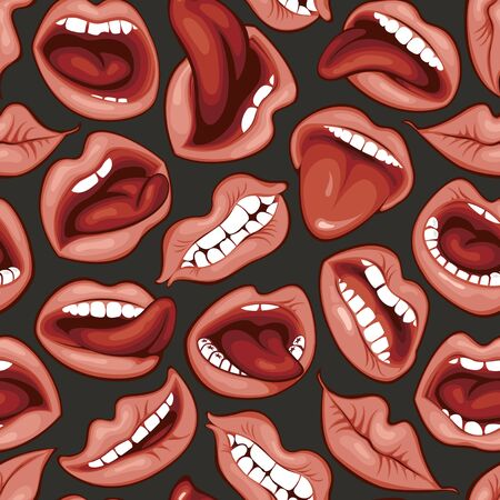 Vector seamless pattern with woman lips with different emotions. Sexy mouth with a kiss, smile, tongue and teeth on the black background. Pink lips collection. Wallpaper, wrapping paper, fabric Иллюстрация