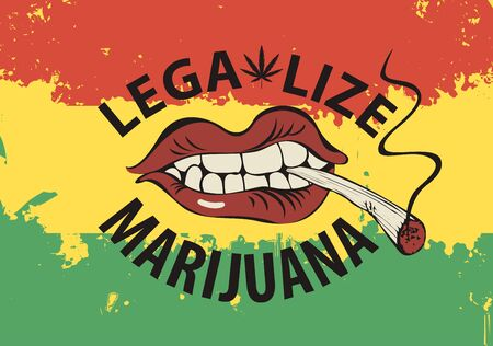 Vector banner with words Legalize marijuana with a human mouth with a cigarette or a spliff in his teeth on the background of rastafarian flag. Drug consumption. Smoking weed
