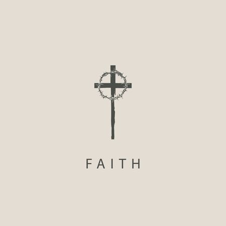 Vector religious illustration or banner with a cross, crown of thorns and the word Faith. Catholic and Christian symbol