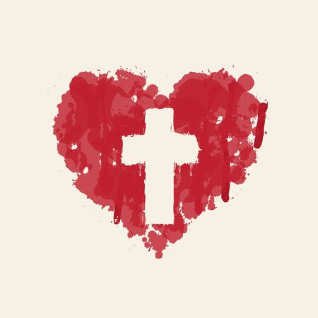 The sign of the religious cross in the abstract red heart inside. Love of God, Catholic and Christian symbol. Creative vector illustration.