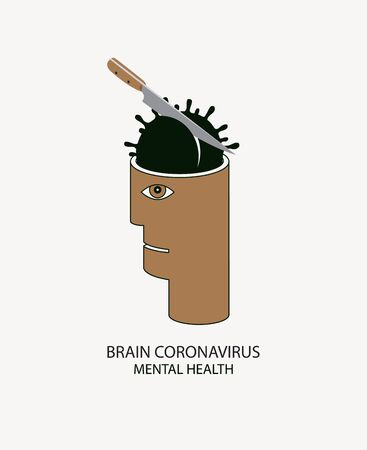Vector banner with a knife that kills the virus COVID-19 in the human head. Brain Coronavirus, Mental health. Not panic and Stop pandemic 2019-nCoV Ilustração