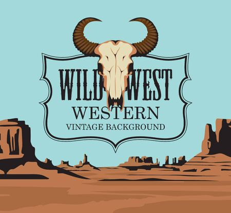 Western vintage banner with bull skull and Western landscape. Vector illustration with the wild West emblem on the background of scenic and desolate American prairie or desert