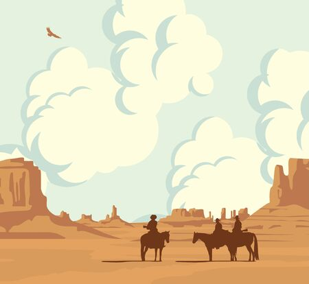 Vector landscape with desert American prairies, cloudy sky and silhouettes of cowboys on horseback. Decorative illustration on the wild West theme. Western vintage background
