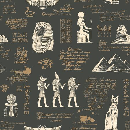 Vector seamless pattern on the Ancient Egypt theme with unreadable notes and hand-drawn images in retro style on the old paper background. Can be used for wallpaper, wrapping paper, fabric.
