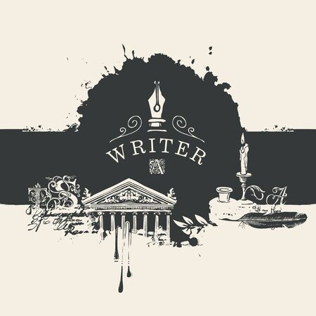 Vector black and white banner on a writers theme in vintage style with drawings and abstract stains. Artistic illustration with nib, candle, feather, inkwell, architectural facade, blots and splashes
