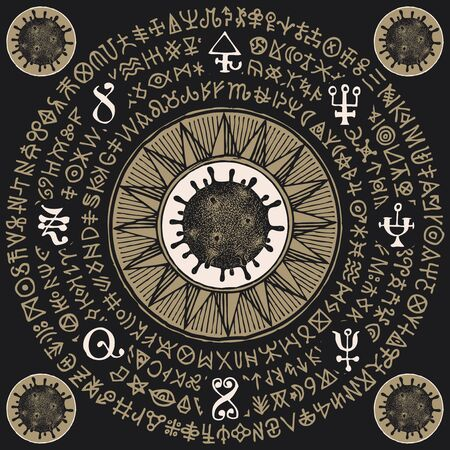 Vector magic banner with coronavirus cells and runes on the black background. A hand-drawn mandala with hazardous COVID-19 virions and doodles that imitate magic symbols but do not give information