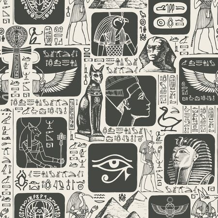Vector seamless pattern with hieroglyphs and illustrations on the theme of Ancient Egypt. The Egyptian symbols and mascots. Suitable for wallpaper, wrapping paper, fabric, background in retro style