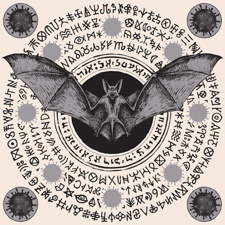 Vector hand-drawn banner with scare bat, coronavirus cells and runes. A magic mandala or amulet with dangerous COVID-19 virions and doodles that imitate magic symbols but do not give information