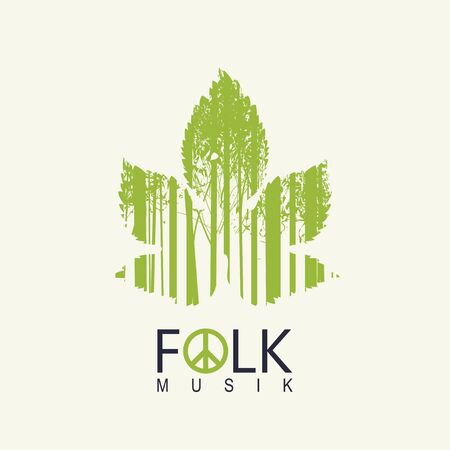 Vector poster or cover on the theme of a folk music decorated with green leaf and silhouettes of young trees on a light background. Music collection