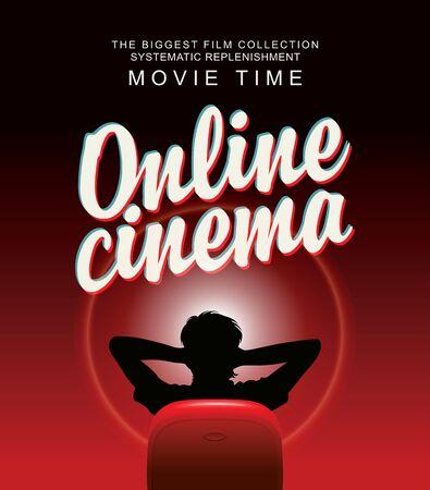 Vektor-Online-Kinobanner mit kalligraphischer Inschrift und einem Mann in entspannter Heimpose vor einem großen Bildschirm. Kino für einen Zuschauer zu Hause. Die größte Filmsammlung