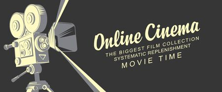 Online cinema concept poster with old fashioned movie projector. Vector illustration with vintage camera and inscriptions in retro style. Movie time. Suitable for web page, background, advertising