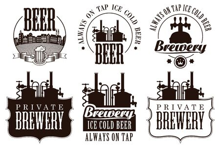 Set of vector  badges, labels and design element on the theme of beer and brewery. Vintage craft beer emblems, templates, symbols with beer equipment in monochrome style