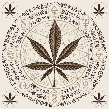 Vector banner for Legalize marijuana with cannabis leaf, octagonal star, esoteric signs and magic runes written in a circle. Natural product made from organic hemp. Smoking weed Illustration