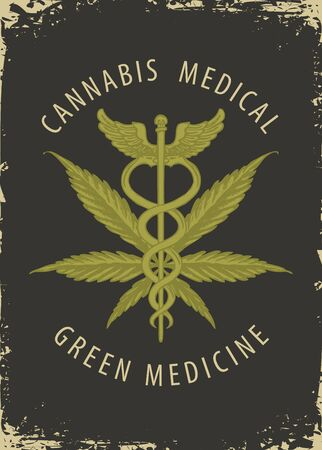 Vector banner for Medical marijuana. Illustration with hemp leaf, Caduceus and calligraphic inscription in retro style. Medical cannabis. Smoke weed. Natural product of organic hemp