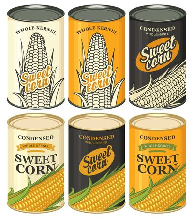 Vector set of tin cans with various labels for sweet corn. Samples of label design. Canned food during the quarantine, long-term storage product Çizim