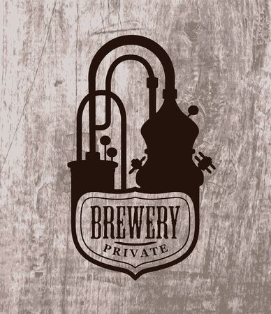 Vector banner with a Private Brewery  printed on a wooden background in retro style. Suitable for bar, pub, brasserie, beer house, brewing company, tavern, restaurant. Craft beer production Çizim