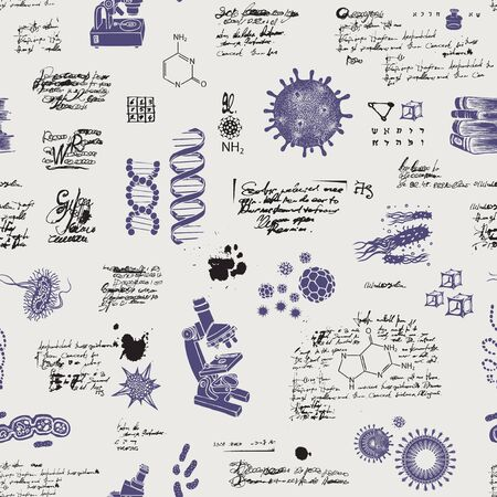Vector seamless pattern on the theme of chemistry, Microbiology, medicine, genetics, laboratory research. Hand-drawn background with sketches, unreadable entries and illegible notes in retro style