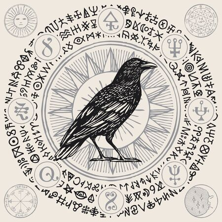 Vector illustration with a wise black Raven or magic Crow in retro style. Hand-drawn banner with magical symbols, occult signs and runes written in a circle