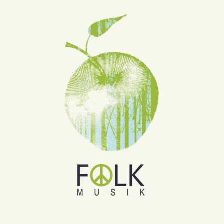 Vector poster or cover on the theme of a folk music decorated with green apple and silhouettes of trees on a light background. Music collection Illusztráció