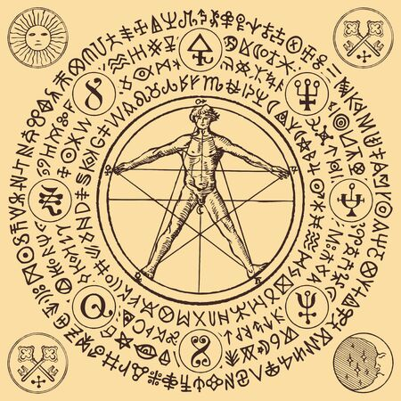 Vector illustration with a human figure like Vitruvian man by Leonardo Da Vinci and alchemical symbols. Hand-drawn banner with esoteric signs and magic runes written in a circle in retro style