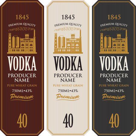 Ensemble d'étiquettes de vodka avec l'image du bâtiment de la distillerie. Étiquettes vectorielles décoratives pour la vodka dans un style rétro. Qualité supérieure, grain de blé pur, collection de boissons alcoolisées fortes Vecteurs