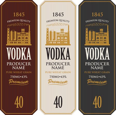 Set of vodka labels with the image of distillery building. Decorative vector labels for vodka in retro style. Premium quality, pure wheat grain, strong alcoholic beverage collection Vetores