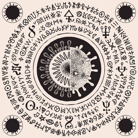 Vector banner with cell of coronavirus in cross-section and magic runes. A hand-drawn illustration with virus COVID-19 virions and doodles that imitate magic symbols but do not give information