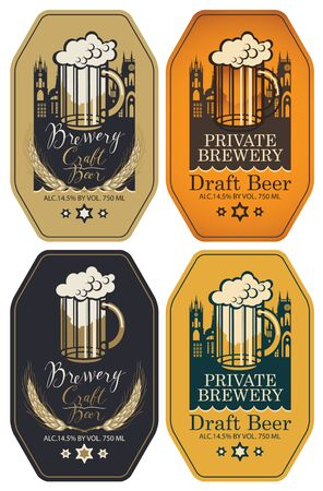 Set of vector labels for craft and draft beer and brewery in figured frames in retro style. Labels with overflowing glass of frothy beer, wheat ears, inscriptions and silhouettes of the old towns Illustration