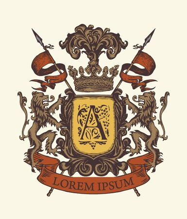 Vector heraldic Coat of arms in vintage style with lions, shield, knightly spears, crown, ribbon and Capital letter A. A medieval heraldry, emblem, sign, symbol. Hand-drawn illustration.