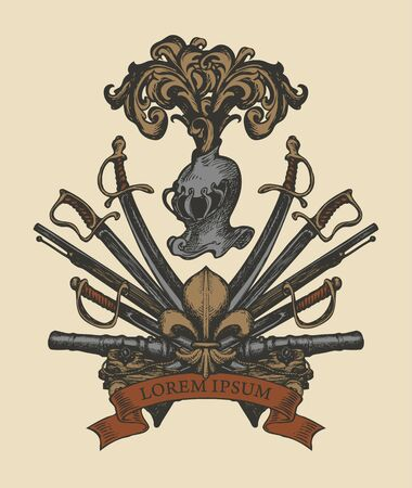 Vector heraldic Coat of arms with knightly helmet, spears, sabers, swords, cannons, ribbon and and fleur de lis. A medieval heraldry, emblem, sign, symbol. Hand-drawn illustration in vintage style