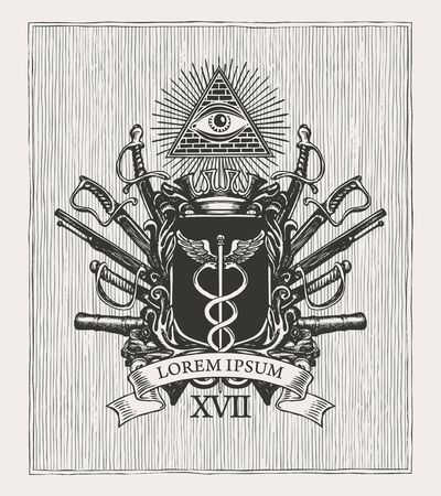 Vector coat of arms in vintage style with a caduceus on a knightly shield, all-seeing eye, crown, sabres, cannons and ribbon. Black and white pencil-drawn image, Masonic heraldry, emblem, sign, symbol