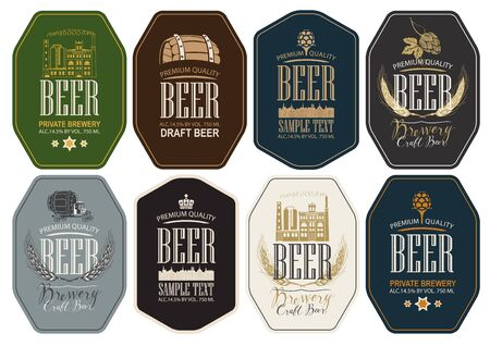 Set of eight vector labels for beer and brewery in retro style. Labels with brewery building, wooden barrel, hop cones, ears wheat and inscriptions in figured frames