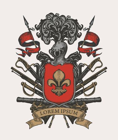 Vector heraldic Coat of arms in vintage style with knightly shield, helmet, spears, sabers, cannons, ribbon and and fleur de lis. A medieval heraldry, emblem, sign, symbol. Hand-drawn illustration