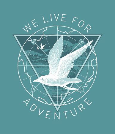 Vector banner on the theme of adventure, travel and discovery with the words We live for adventure. Hand-drawn illustration with a Seagull, an old map and a triangle with waves in retro style Иллюстрация