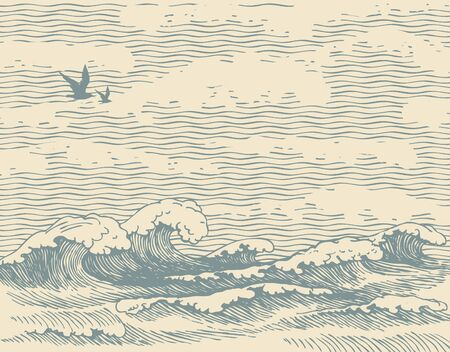 Vector decorative seascape in retro style with waves, seagulls and clouds in the sky. Hand-drawn illustration of the sea or ocean, waves of water on the old paper background. Contour drawing