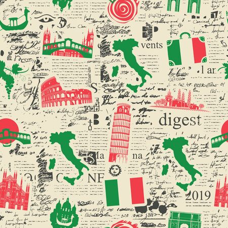 Vector abstract seamless pattern on the theme of Italy with Italian symbols, architectural landmarks and a map in the colors of the Italian flag on the background of newspaper page in retro style. Ilustración de vector
