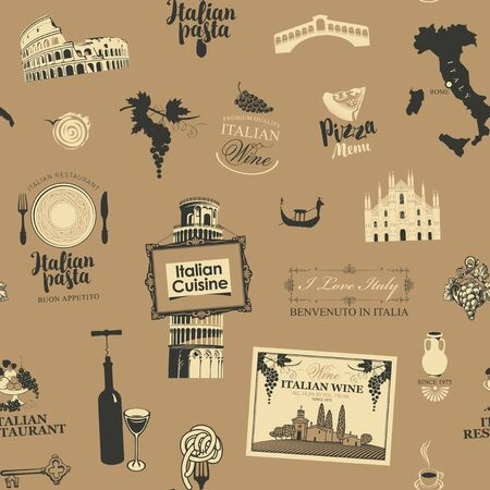 Vector abstract seamless pattern on the theme of Italy and Italian cuisine in beige colors in retro style.