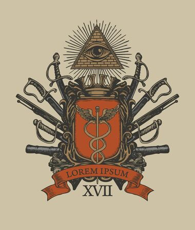 Vector coat of arms in vintage style with a caduceus on a knightly shield, all-seeing eye, crown, sabres, swords, cannons and ribbon. Masonic hand-drawn image, heraldry, emblem, sign, symbol. Illustration