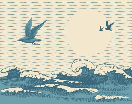 Vector decorative seascape in retro style with waves, seagulls and Sun in the sky. Hand-drawn illustration of the sea or ocean, waves of water with white ridges of sea foam on the old paper background