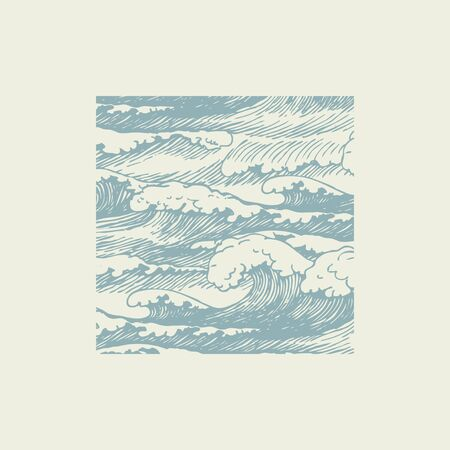 Vector banner with hand-drawn waves in retro style. Decorative illustration of the sea or ocean, stormy waves with breakers of sea foam