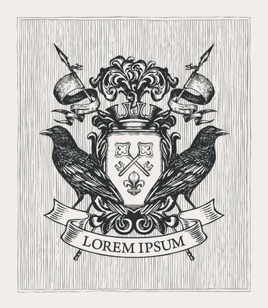 Vector heraldic Coat of arms with ravens, crown, spears, ribbon, knightly shield with old keys and fleur de lis. Medieval heraldry, emblem, symbol. Hand-drawn illustration in vintage style