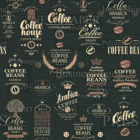 Seamless pattern in retro style on the theme of coffee house and coffee with various coffee labels on the black
