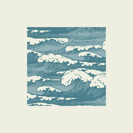 Vector banner with hand-drawn waves in retro style. Decorative illustration of the sea or ocean, blue storm waves with breakers of seafoam