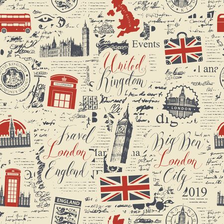 Vector seamless pattern of London theme with inscriptions