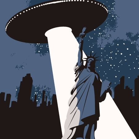 Vector banner on the theme of aliens attack in USA. An illustration of a large flying saucer over a city that sent a bright beam at a Statue of liberty. The UFO invasion Vectores